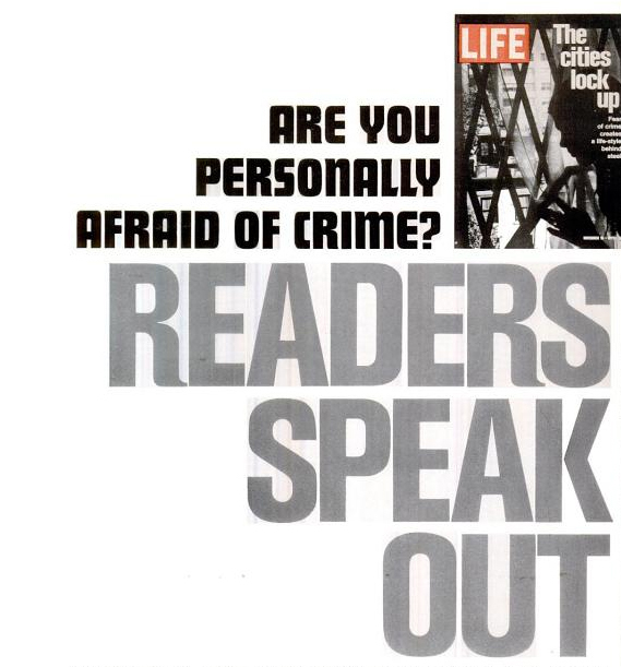 Are You Personally Afraid of Crime?                  Readers Speak Out