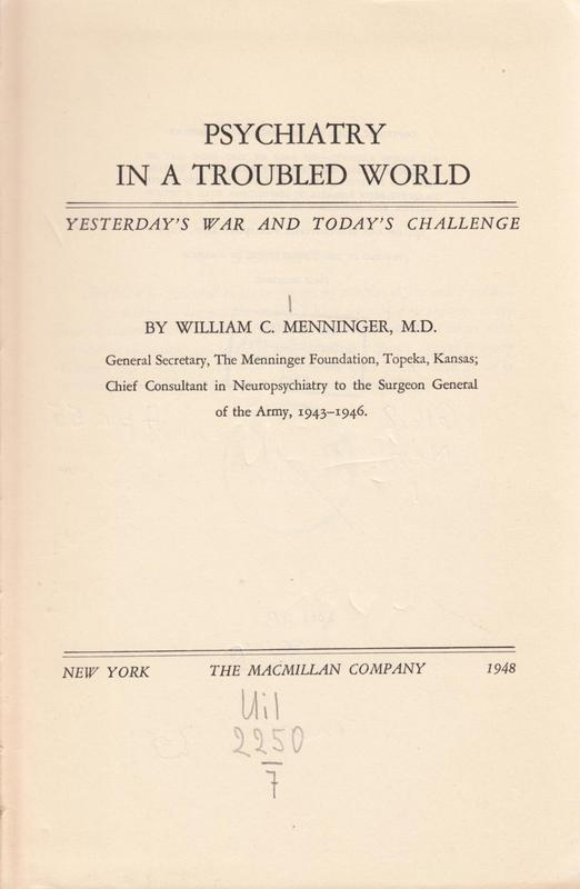 Psychiatry in a Troubled World