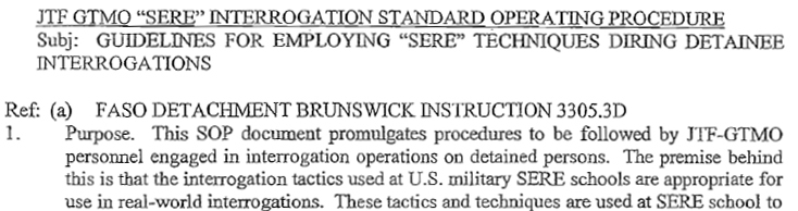Guidelines Detailing SERE-based Interrogation Tactics